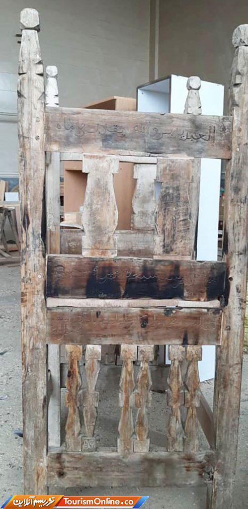 منبر چوبی ایلخانی روستای جوین سرخه بازسازی شد