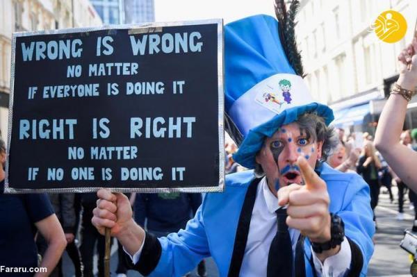 (تصاویر) تظاهرات علیه محدودیت های کرونایی در انگلیس